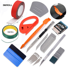 FOSHIO Vinyl Wrap Tools Kit 50m Knifeless Tape Carbon Fiber Film Magnetic Stick Squeegee Sticker 5m 3 Layers Scraper Fabric Cloth Window Tint Foil Cutter Knife Car Accessories