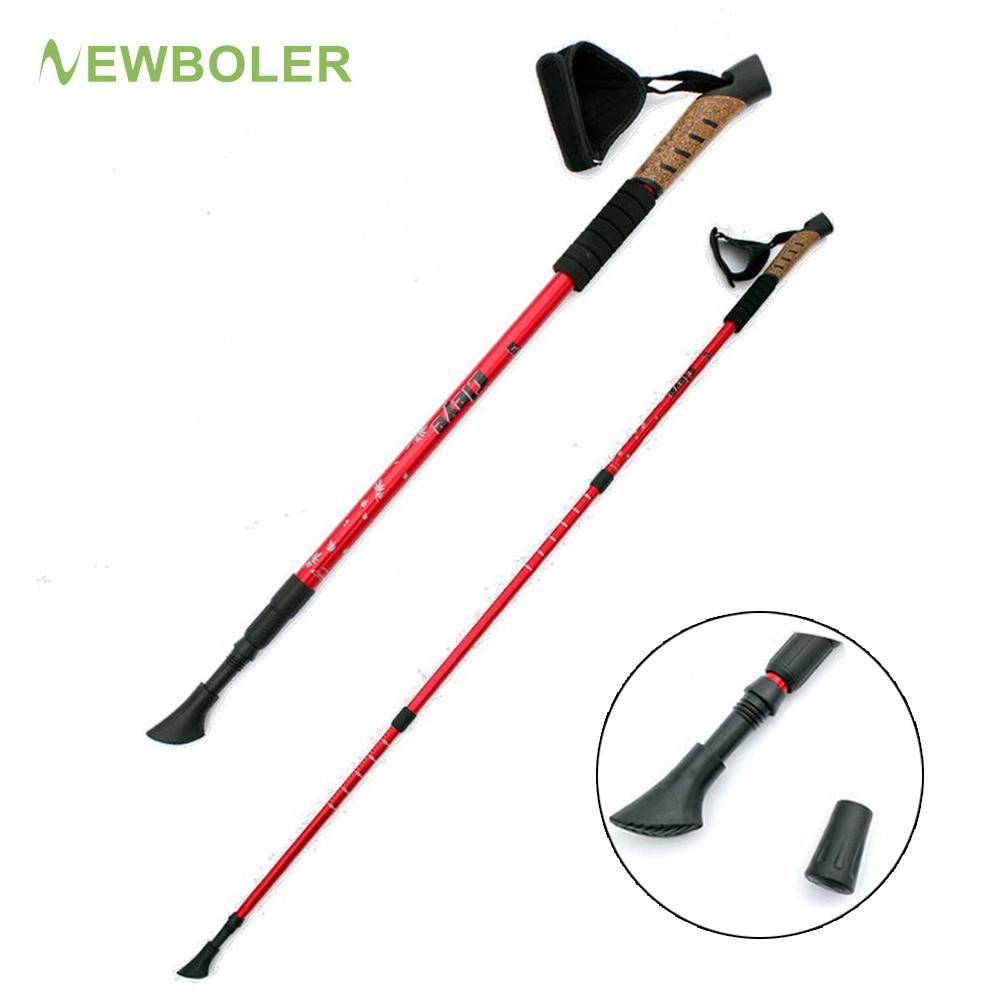 1 2Pcs Nordic Walking Sticks Telescopic Baton Trekking Hiking Poles Ultra Walking Canes With Rubber Tips Adjustable Bands
