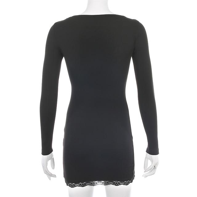 Darlingaga-vestido negro ajustado de retazos de encaje con cuello cuadrado para mujer, elegante Vestido corto de algodón a la moda con abertura lateral para otoño 6