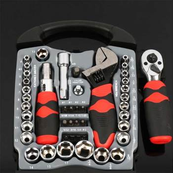 Basic Mechanic Socket Tool Kit Set With Case - Set of 45 Ratchet Driver Wrench and Sockets set of sockets matrix 13557