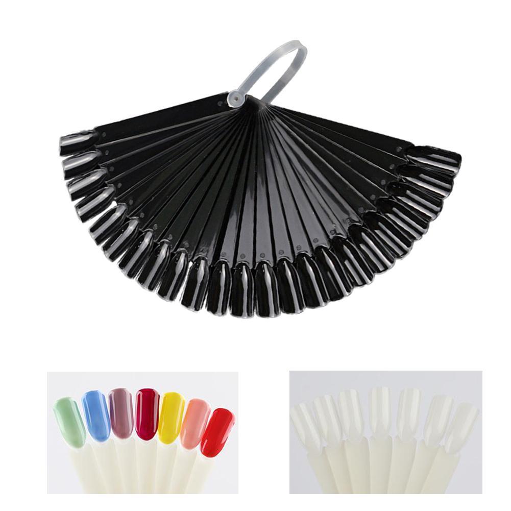 24Pcs Fan Shape Nail Art Polish Color Card Practice Sticks Sample False Nail Tips Display Board Manicure Nail Art Tools Supplies