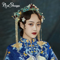 NiuShuya High Grade Classical Chinese Costume Hair Accessories Blue Wedding Bride Wedding Princess Queen Headdress Accessories