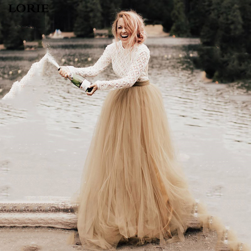 Lorie A-Line Boho Wedding Dresses Gold Long Sleeve Contrast Color Bridal Gowns 2020 Vestidos De Noiva Simple Lace Bride Dresses