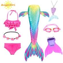 AngelGirl çocuklar renkli yüzme Mermaid kuyruk Flipper ile kız için yaz denizkızı tatil Mermaid kostüm partisi Bikini elbise
