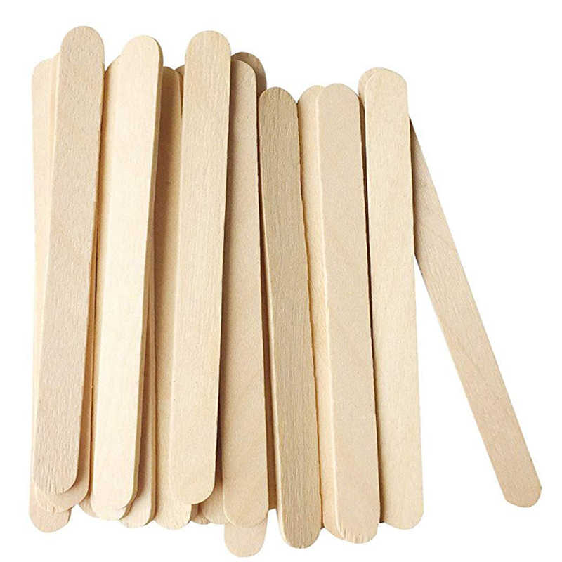 UPORS 100Pcs/Set Popsicle Sticks Natural Wooden Pop Popsicle Sticks 11.4CM Length Wood Craft Ice Cream Sticks Popsicl Accesorios