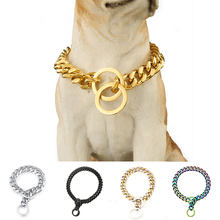 316L Stainless Steel Dog Chain 15mm/19mm Pet Training Collar For Large Medium Dogs Customize Size Gift Jewelry