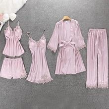 Women Pajamas 5 Pieces Satin Sleepwear Pajama Faux Silk Home Wear Home Clothing Embroidery