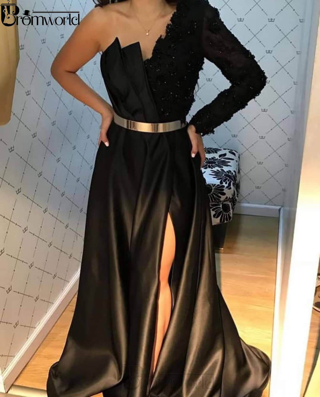 Elegant A-Line Black Evening Dress Sexy Slit One Shoulder Lace Long Sleeve Party Gowns Prom Dresses Long 2020 Vestido De Festa