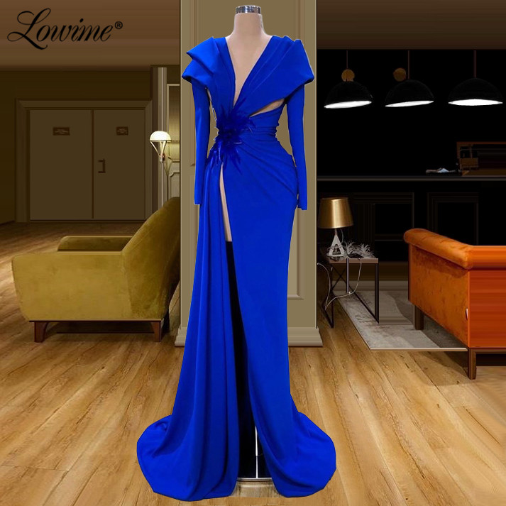 Arabic Royal Blue Prom Dresses 2020 Robe De Soiree Cut-out Sexy African Evening Gowns Dubai Party Prom Dress Vestido De Festa