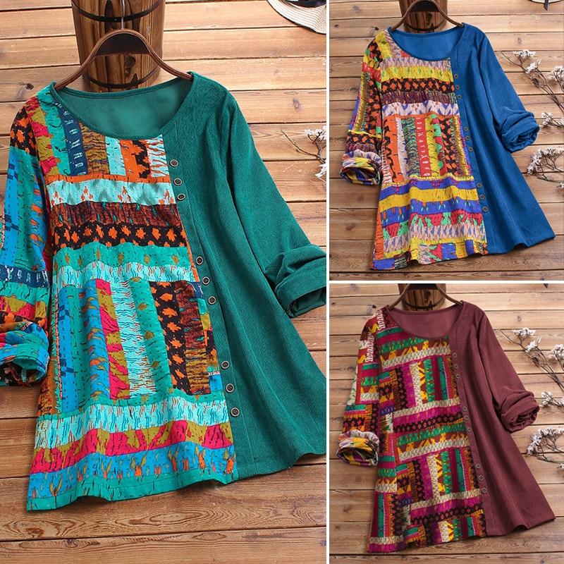 Women Cotton Corduroy Shirt 4XL 5XL Plus Size Tops Vintage Ethnic Print Patchwork Tunic Women Casual O Neck Long Sleeve Blouse