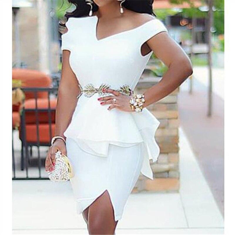 White Bodycon Party Dress Ruffles Peplum Bare Shoulder Slit Event Occation Stylish Dresses Robes Large Size Ladies Celebrate
