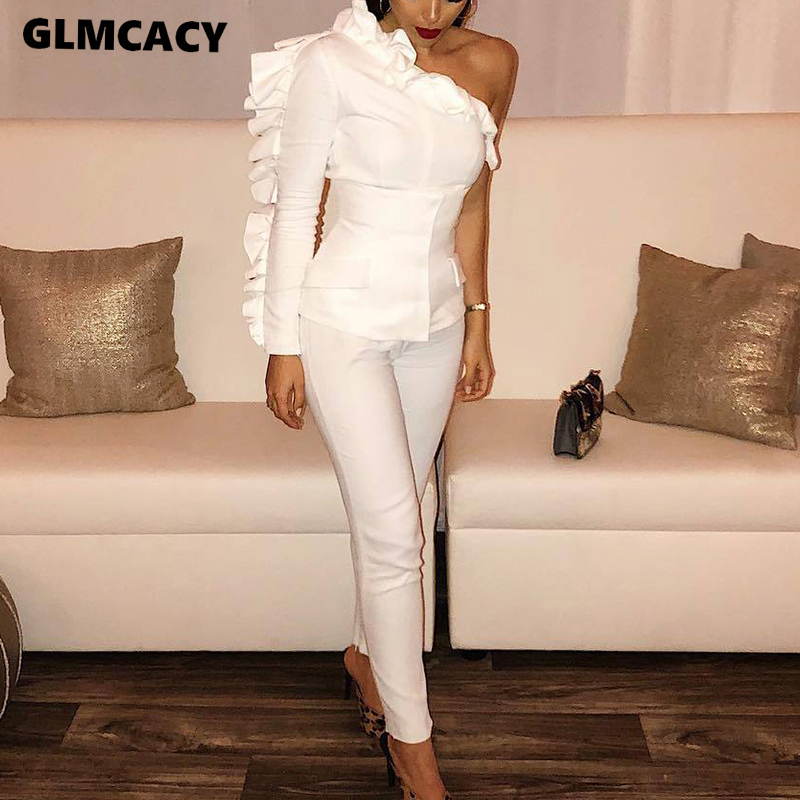 Women Skew Neck One Shoulder Ruffles Blouse Top And Skinny Pants Set Formal Smart Casual Outfits Office Laides Workwear
