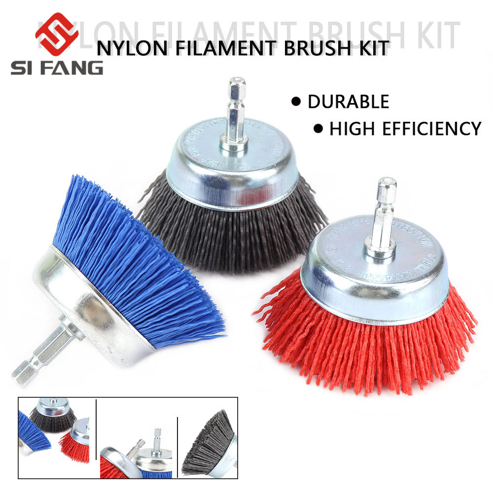75mm Nylon Filament Abrasive Cup Brush Metal Polishing Grinder Rust Removal
