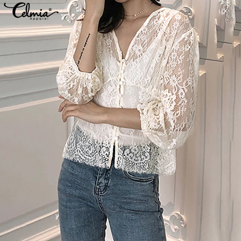 Celmia 2019 Fashion Women Sexy Hollow Out Blouses Lantern Sleeve Lace Tops Casual Sexy V-Neck Shirts Elegant Streetwear Blusas