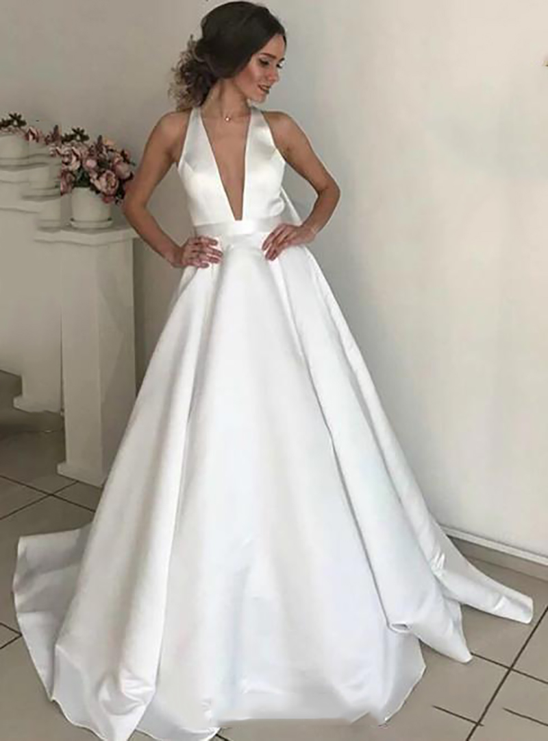 Lorie  Boho A Line Satin Wedding Dresses V Neck Bride Dresses With Big Bow Vestido De Novia Elegant  Wedding Gown