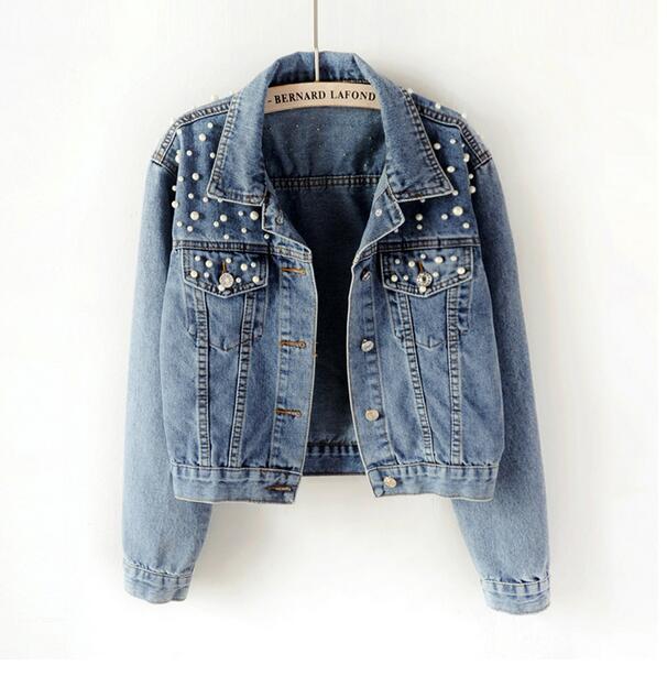 Denim Jacket Large Size Women's Beaded Diamonds Female Student Light Blue Black Denim Jacket Loose Retro Denim Jacket 2019 New