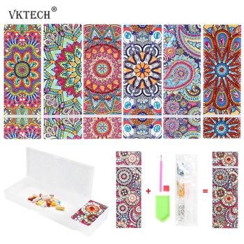 VKTECH DIY Mandala Special Shaped Diamond Painting 2 Grids Stationery Storage Box Pen Storage Box for Student Kid Christmas Gift image