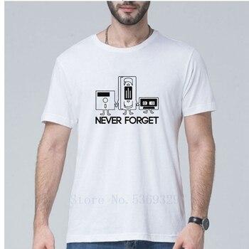 2019 New Fashion Summer Men short sleeve Never Forget Floppy Disc VHS Cassette Tech Geek Print T Shirt sportswear Plus Size