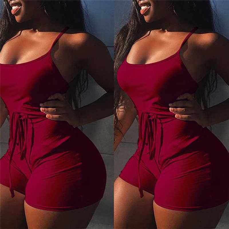 2019 nuevos peleles de verano para mujer Sexy de encaje sin espalda sin mangas monos Bodycon Slim Fit Jumpsuit Clubwear Bodysuit pantalones cortos