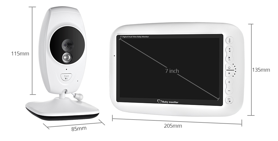 7 Inch Wireless Baby Monitor With 720P HD Screen Camera To Check Your Baby Monitor Screen 8
