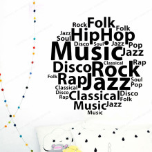 Music Styles Wall Vinyl Decal Typography Wall Sticker Music Home Decor Living Room art mural JH407 grazing wall sticker home wall decor living room bedroom wall decal removable wall art mural jh206