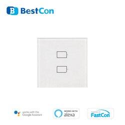 BroadLink BestCon TC2S 2GANG RF jednobiegunowy inteligentne oświetlenie ścienne przełącznik UK standardowy asystent google alexa sterowanie głosem pojedyncze na żywo