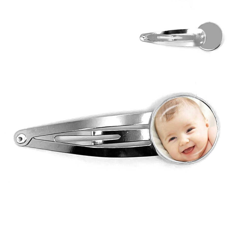 Kişiselleştirilmiş özel tokalar fotoğraf anne baba bebek çocuk büyükbaba ebeveynler tasarlanmış LOGO saç tokası takı aile yıldönümü