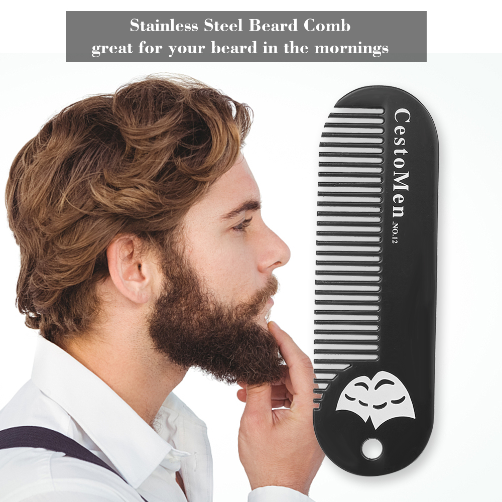 Portable Stainless Steel Beard Comb Man Shaving Pocket Comb Anti-Static Mini Hair Comb for Mustache Beard Grooming Trimming Tool