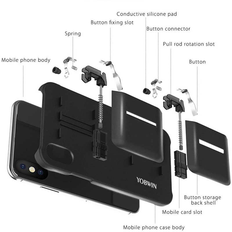 YOBWIN Protable Mobile Game Controller Case For iPhone Mobile L1R1 Trigger Joystick Gamepad for PUBG