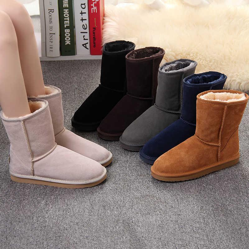 JXANG 2020 Da Thật Cao cấp Chính Hãng Úc Cổ Điển Ủng Giày Bốt Nữ mùa đông Ấm Áp cho nữ lớn CỦA HOA KỲ 3-13