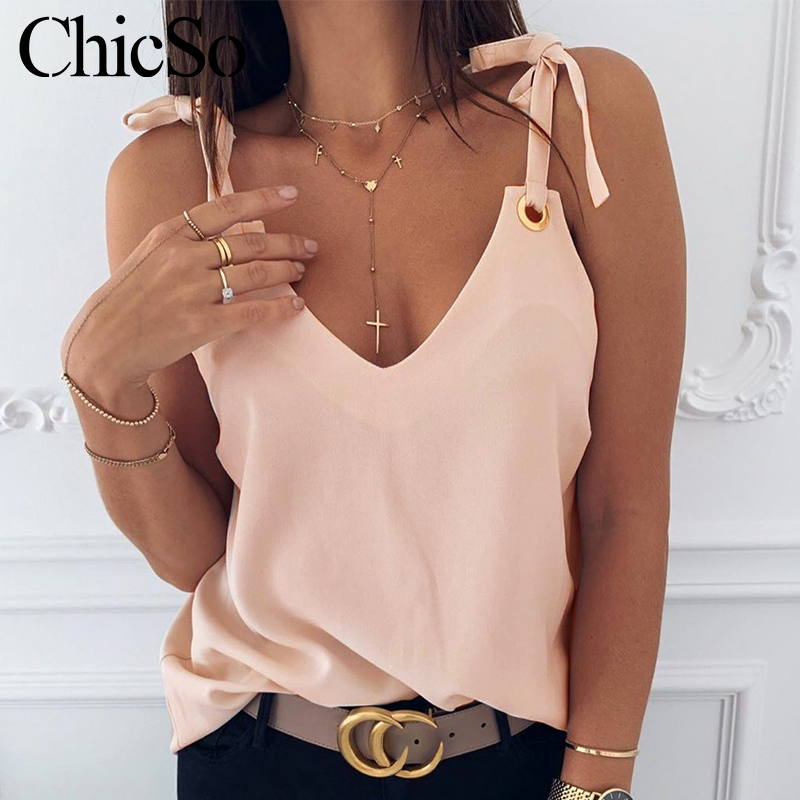 MissyChilli Vneck Sexy Lace Up Loose Female Tank Top Women Basic Sleeveless Pink Camisole Summer Elegant Party Casual Tank& Cami