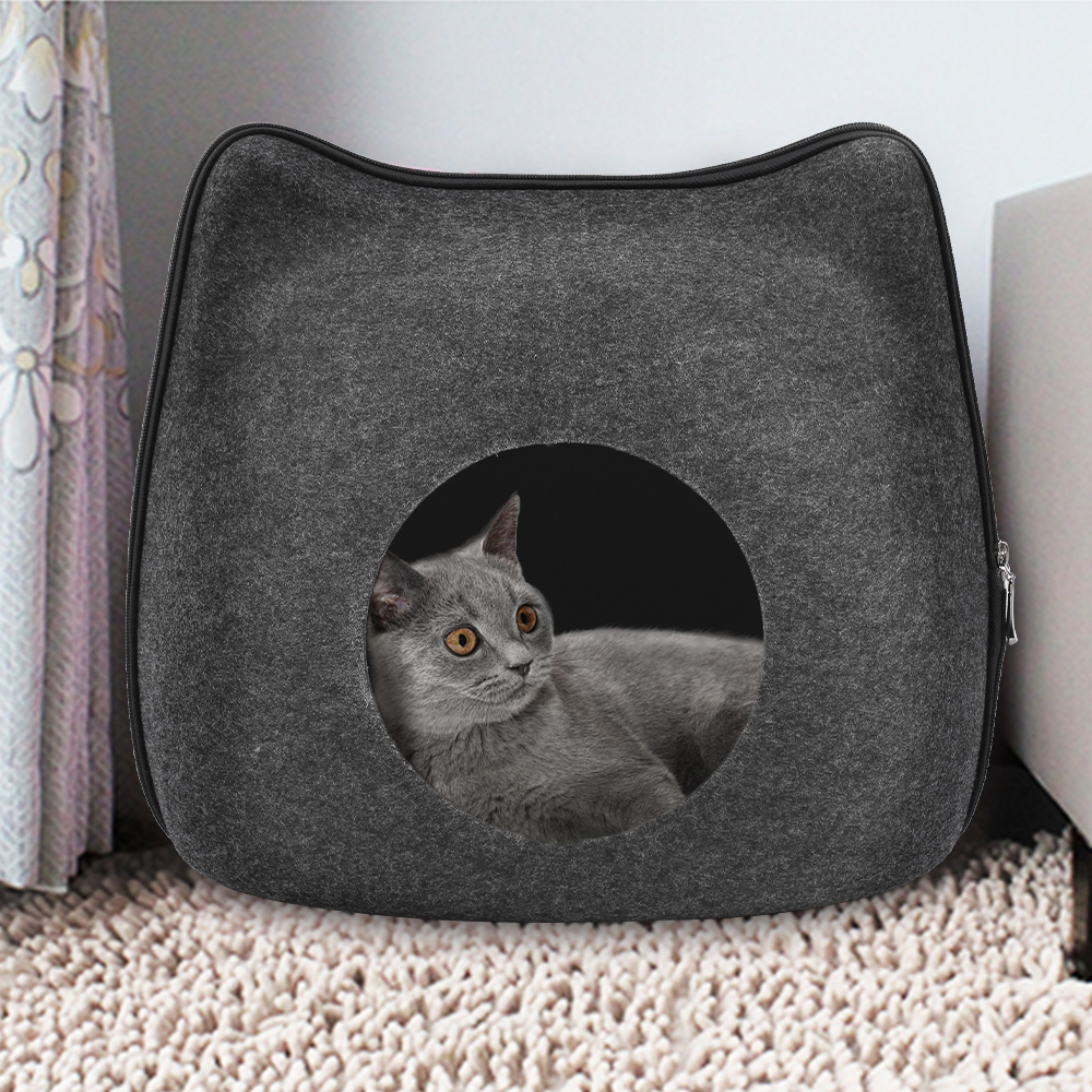 Detachable Natural felt Cat Bed Breathable Cat Pet Cave Dark Gray Cat Bed House With Cushion for Pets Cats Pet Accessories