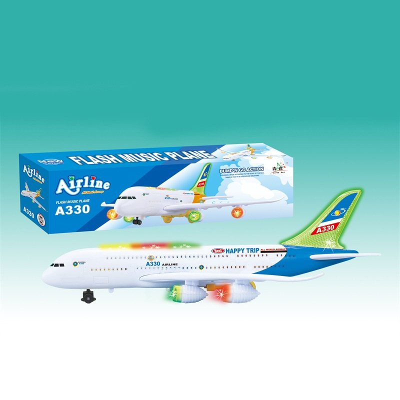 Hot Selling Air Bus Electric Shining Music Airplane Universal Aircraft Children Model Plane Toy