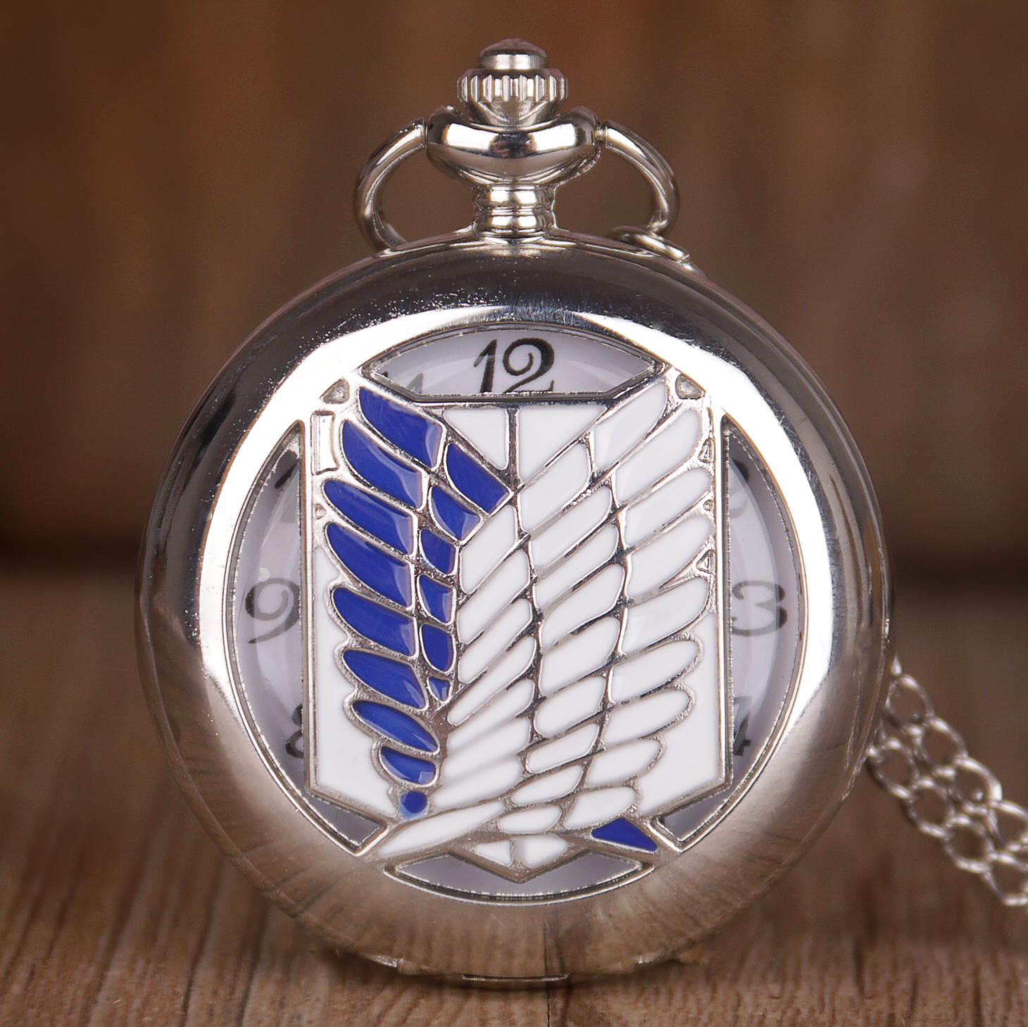 Unisex Unique Design Bronze Attack on Titan Wings of Liberty Clamshell Quartz Pocket Watch Watch Gift CF1025