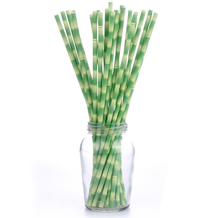 Manufacturers Customizable Logo Disposable Paper Straw Fresh Antique Style Creative Environmentally Friendly Bamboo Straw Americ