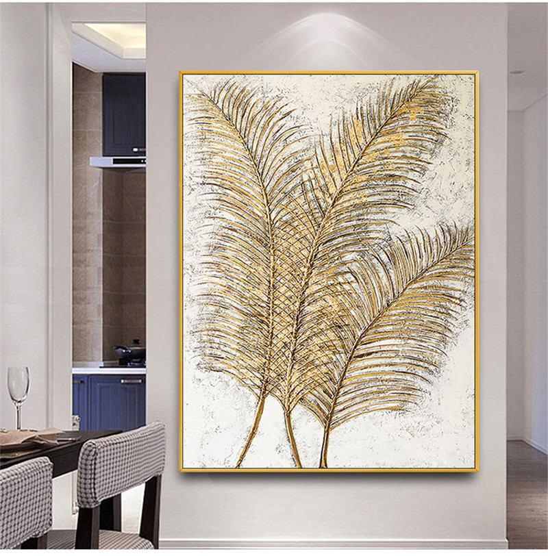 Professional Hand-painted High Quality Fashion Wall Art Multiple Feather Oil Painting On Canvas Beauty Wall Art Feather Painting