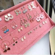 Органайзер для ювелирных изделий бархатный розового цвета кольца