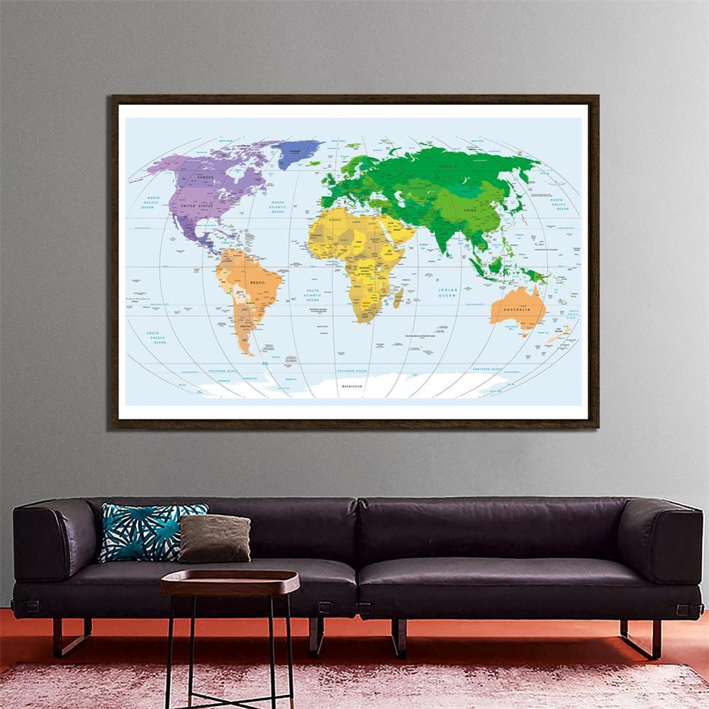 150x225cm Non-woven World Map Mercator Projection Without National Flags For Education And Culture