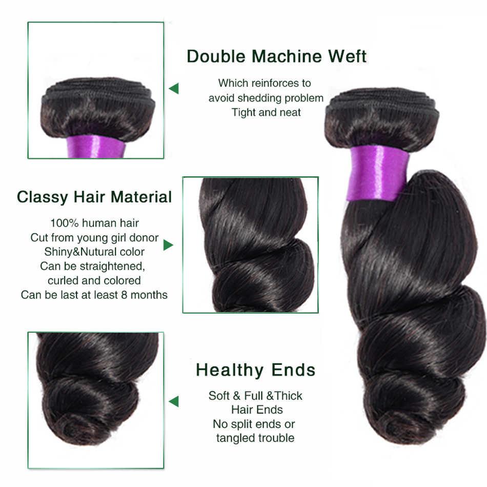 Mechones de pelo ondulado suelto Liddy extensiones de pelo ondulado malasio extensiones de cabello humano 100% Color Natural cabello no remy tejido 1/3/4 piezas