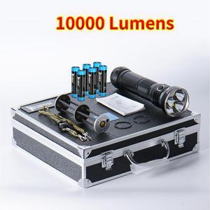 Светодиодный прожектор WUBEN T90, 3 светодиода, макс. 10000 лм, фонарик с забросом 410 м, фонарь в алюминиевой коробке с литиевой батареей 6*18650