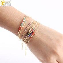 CSJA браслеты Miyuki Браслеты для Для женщин браслет из бусин 2-х слойный, мини юбка-пачка Delica ювелирные золото Цвет звено цепи S187
