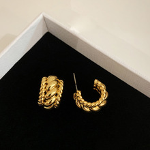 Hoop-Earrings Jewelry Punk Twisted Minimalist-Statement Gold-Color Thick Women Big
