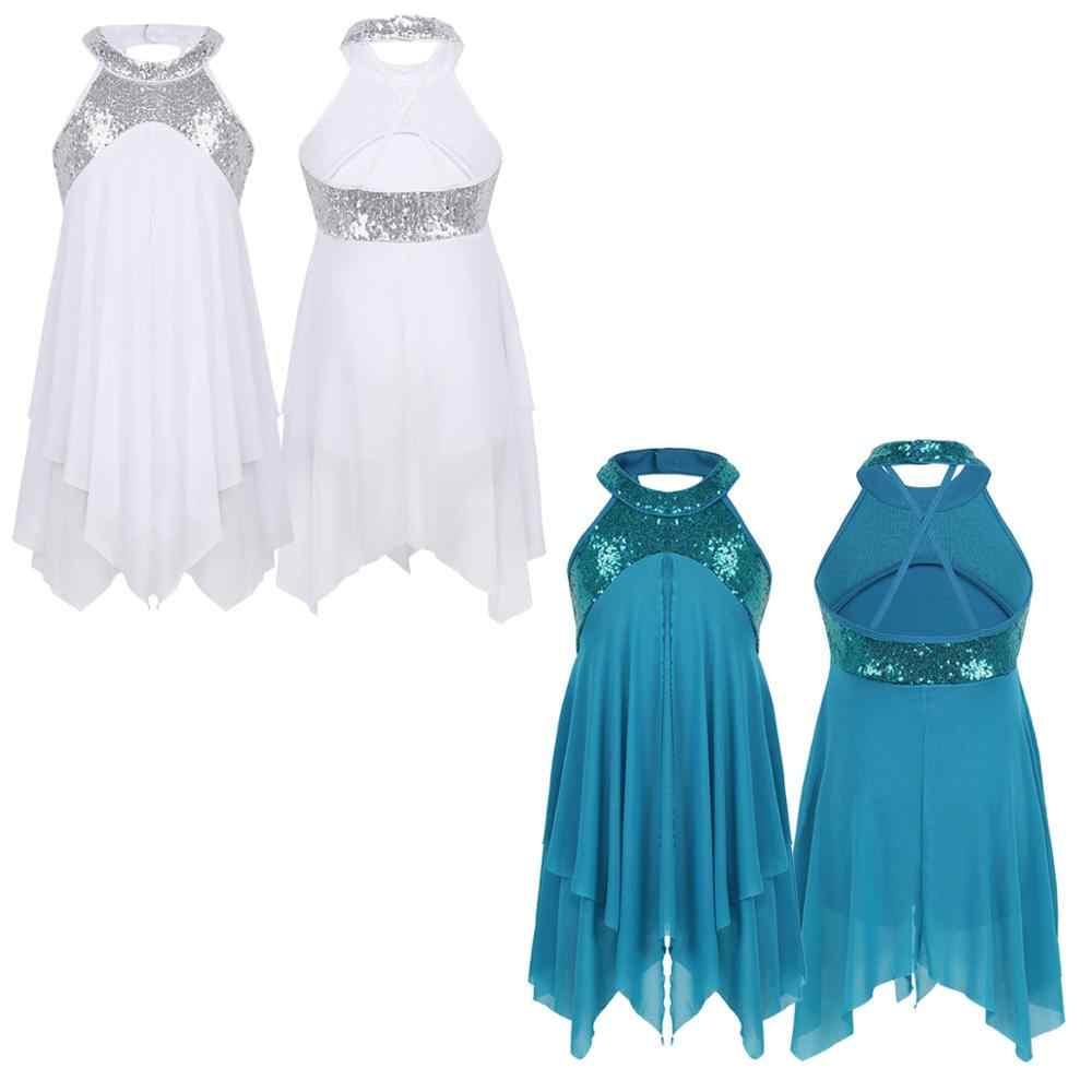 Girls Halter Sequin Dance Dress Ballet Latin Lyrical Costume Ballroom Dancewear