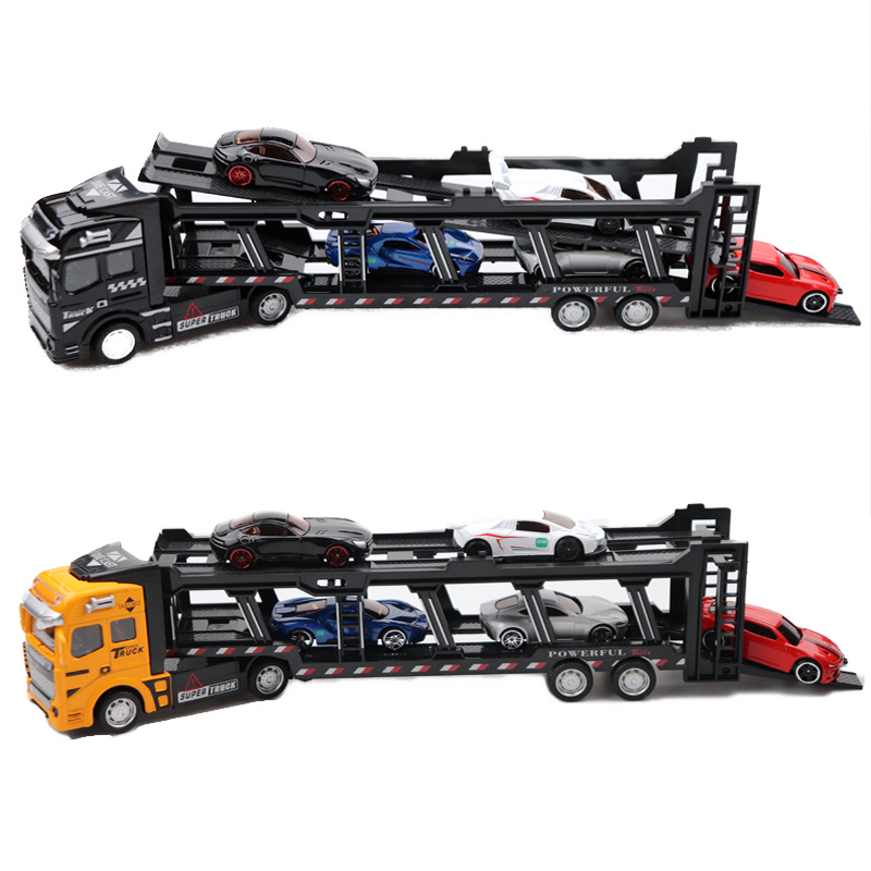 16 Styles 1:48 New Pull Back Alloy Super Truck With Hot Cars Vehicle Simulation Transporter Model Car Toys For Kids Gift