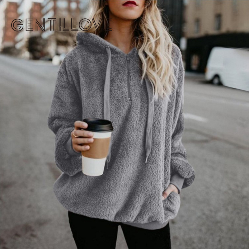 Autumn Women Casual Pullovers New Faux Fur Fluffy Hoodies Teddy Coat Drawstring Sweatshirt Sudadera Top Clothes Plus Size 5XL
