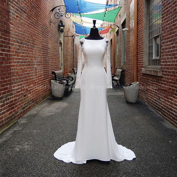 Elegant Mermaid Wedding Dresses With Illusion Cut-Out Sleeves Bateau Neckline 2020 White Ivory Plus Size Bridal Gown Sweep Train фото