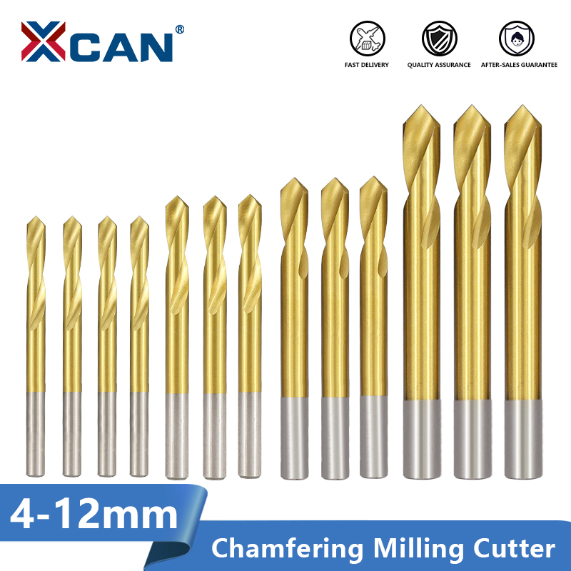 XCAN 90 Degrees Chamfering Milling Cutter 4/5/6/8/10/12mm Titanium Coated HSS Chamfer End Mill