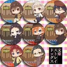 8 pièces/1lot Anime Bungou chiens errants Rampo Edogawa Ango Sakaguchi Dazai Osamu Figure 5011 insignes broche ronde broche cadeaux enfants jouet