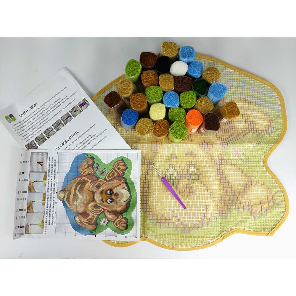 Latch Hook Kit Membuat Anda Sendiri Karpet Micky Wajah Permadani Rajutan Cushion Mat DIY Karpet Rug Set Digunakan Dicetak kanvas Hobi dan Kerajinan
