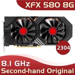 Tarjeta de video usada XFX RX 580 8GB 2304 256bit GDDR5 de escritorio Juegos de pc tarjeta gráfica no minera 580 8G